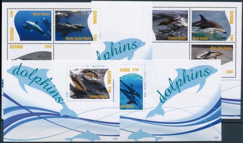 Delfinek 2 kisív + 2 blokk, Dolphins 2 mini sheet + 2 blocks