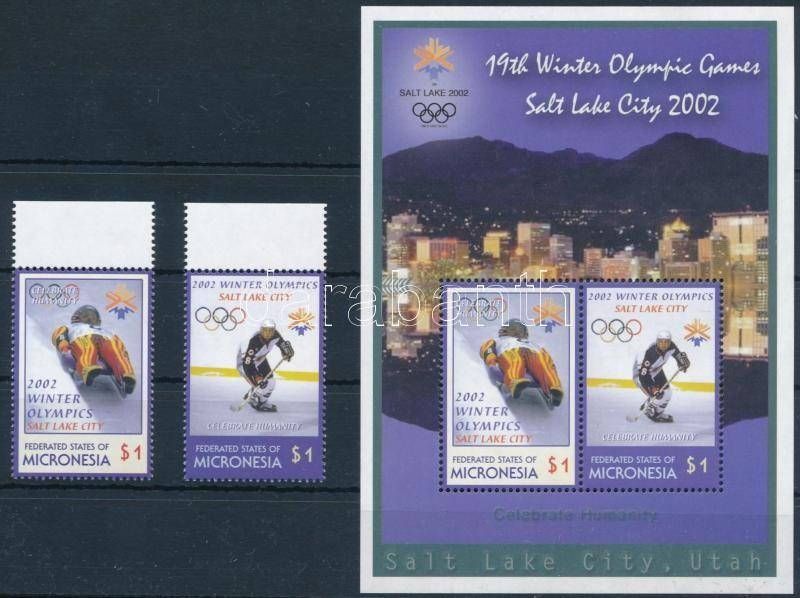 Winter Olympics, Salt Lake City (II) margin set + block, Téli Olimpia, Salt Lake City (I) ívszéli sor + blokk