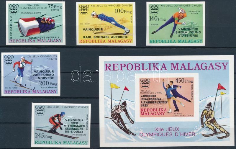 Olympic medalists imperforated set with overprint + imperforated  block, Olimpiai érmesek vágott sor felülnyomással + vágott blokk