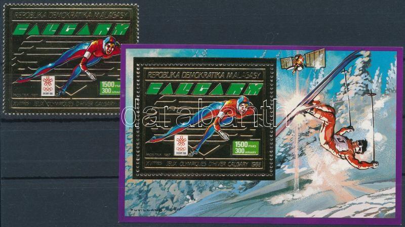 Winter Olympics, Calgary stamp with golden foil + block, Téli Olimpia, Calgary arany fóliás bélyeg + blokk