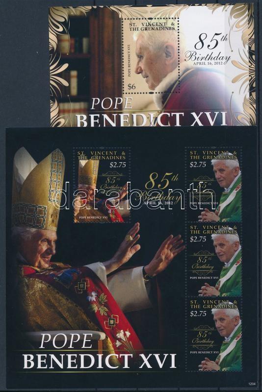 Pope Benedict XVI. mini sheet + block, XVI. Benedek pápa kisív + blokk