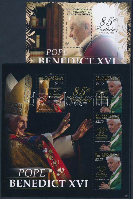 Pope Benedict XVI minisheet + block, XVI. Benedek pápa kisív + blokk