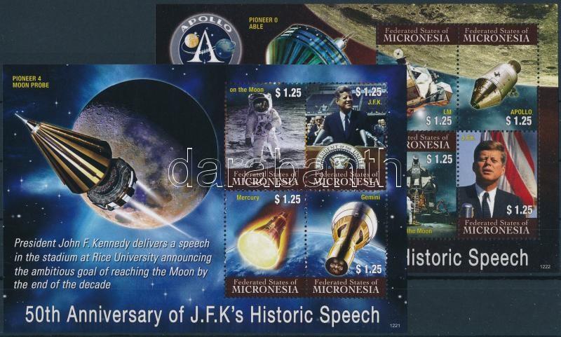 Évfordulók, Kennedy, űrutazás kisívsor, Anniversaries, Kennedy, space travel mini sheet set