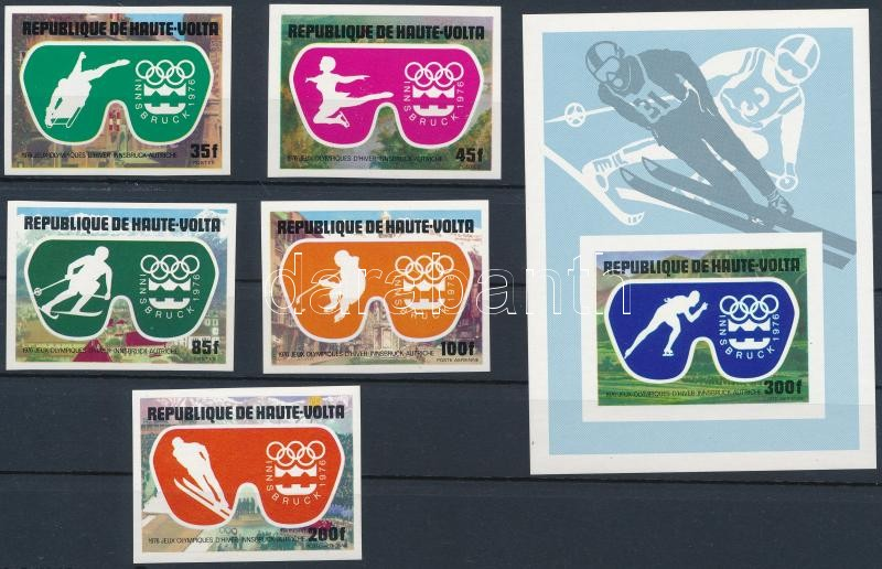 Winter Olympics, Innsbruck imperforate set + block, Téli Olimpia, Innsbruck vágott sor + blokk