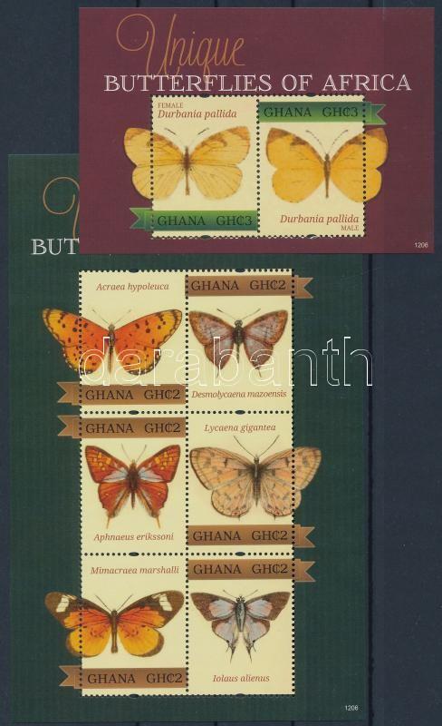 Butterfly mini sheet + block, Lepke kisív + blokk