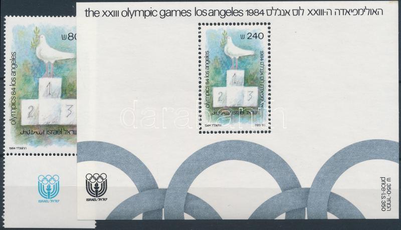 Summer Olympics, Los Angeles stamp with tab + block, Nyári Olimpia, Los Angeles tabos bélyeg + blokk