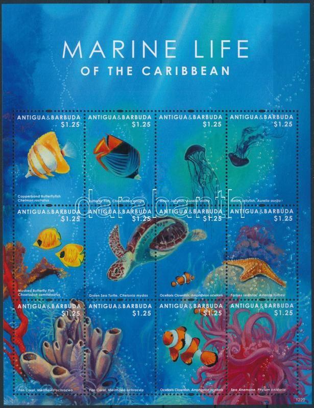 Sea animals minisheet, Tengeri állatok kisív