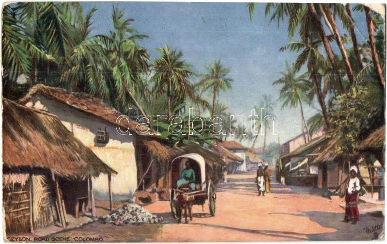 Colombo, road scene. Raphael Tuck & Sons Oilette 8575.