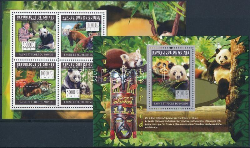 Pandas mini sheet + block, Pandák kisív + blokk