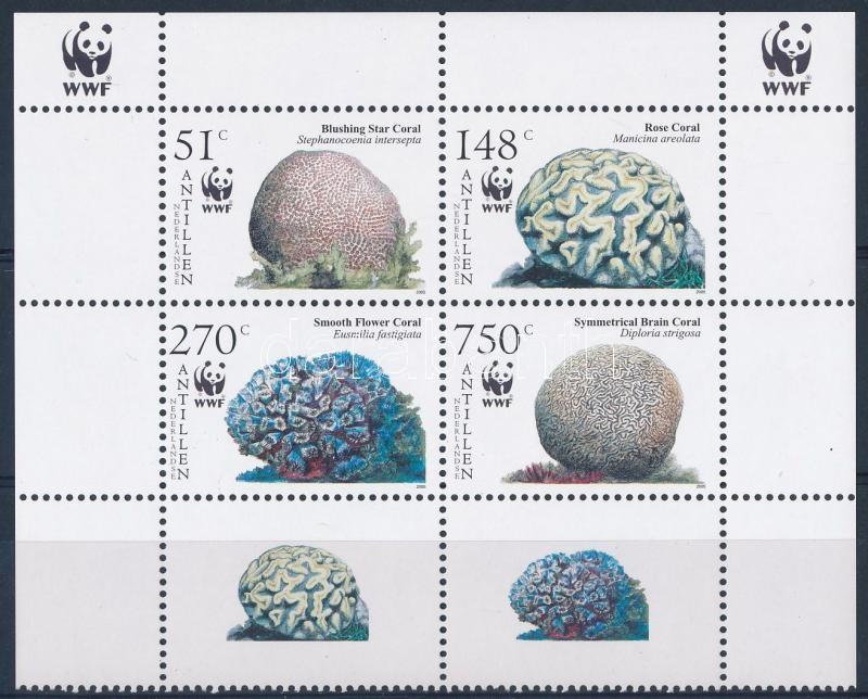 WWF Corals corner block of 4, WWF: Korallok ívsarki négyestömb