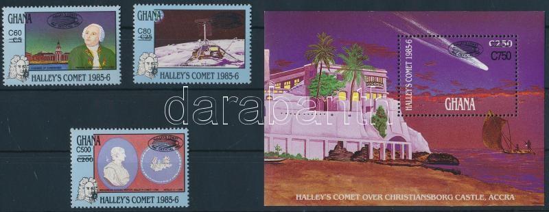 Haley üstökös felülnyomott sor + blokk, Haley's comet overprinted set + block