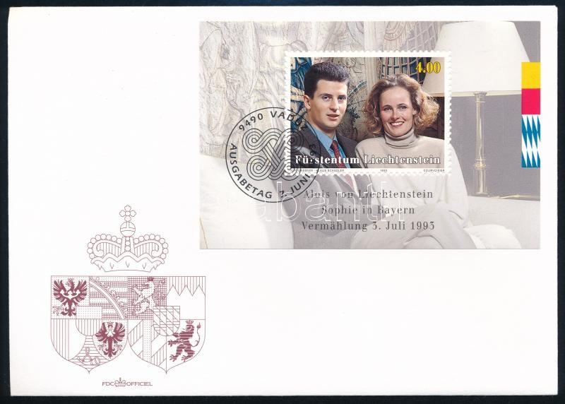 Prince Alois and Princess Sophie's wedding block, Alois herceg és Sophie hercegnő esküvője blokk  FDC-n