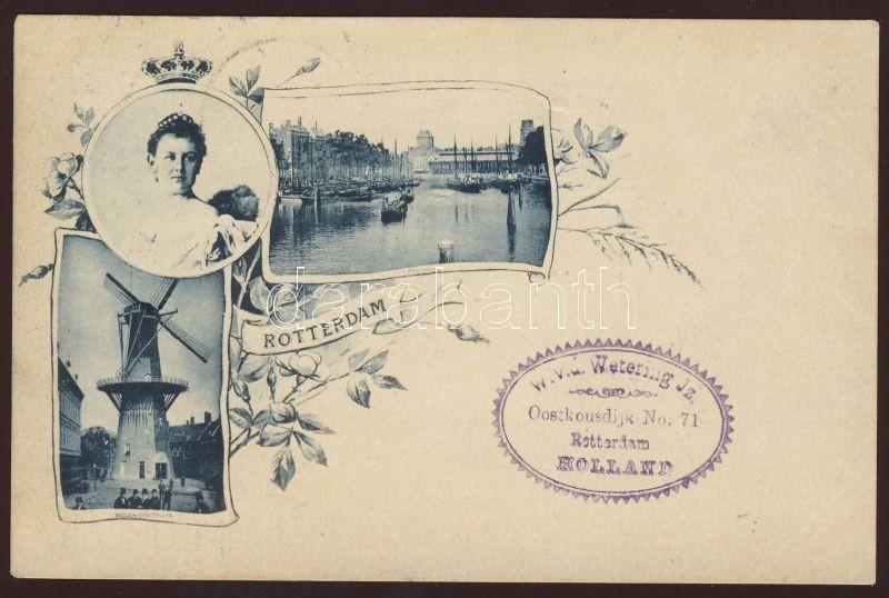 Rotterdam, Vischmarkt, Molen Oostplein / fish market, mill, Wilhelmina, Art Nouveau floral