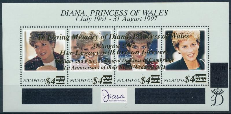 In memory of Lady Diana and first wedding anniversary of Kate and William overprinted block, Lady Diana emlékére, Vilmos herceg és Kate Middleton első házassági évfordulója felülnyomott blokk