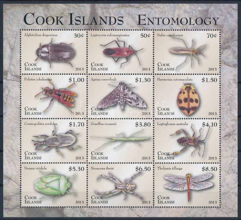Insects, bugs mini sheet with 12 stamps, Rovarok, bogarak 12 bélyeget tartalmazó kisív