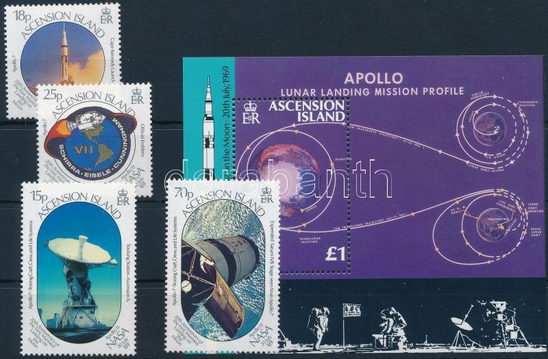 Moon Landing - Apollo 11 set + block, Holdraszállás - Apollo 11 sor + blokk