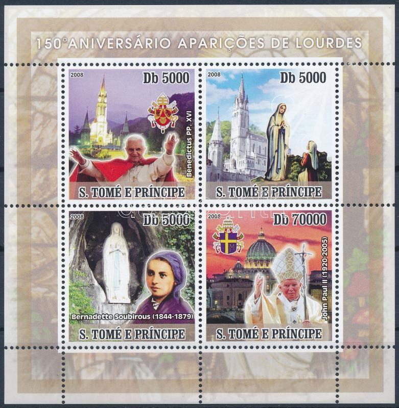 150th Anniversary of Apparation of Virgin Mary minisheet, Szűz Mária megjelenésének 150. évfordulója kisív