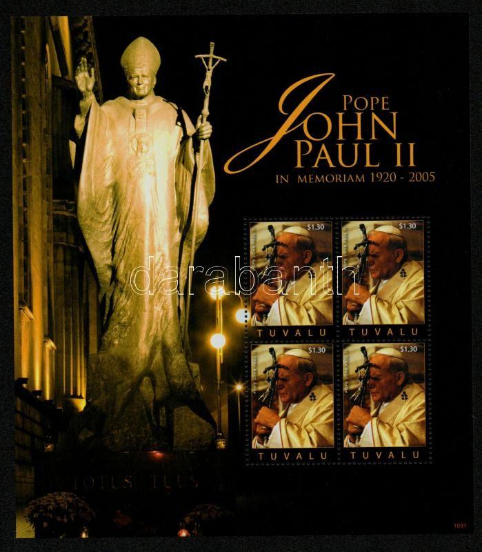 II. János Pál pápa halálának 5. évfordulója kisívpár, 5th anniversary of Pope John Paul II's death minisheet pair