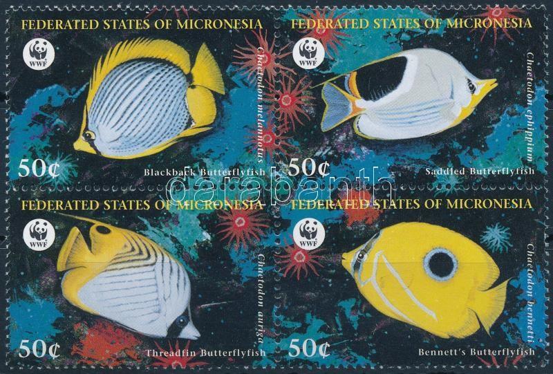 WWF: Butterflyfish block of 4, WWF: Pillangóhalak négyestömb