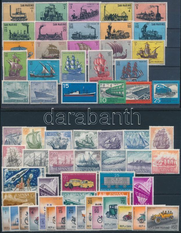 Transport, train, ship, car 7 sets + 3 stamps, Közlekedés, vonat, hajó, autó motívum 7 db klf sor + 3 db önálló érték 2 stecklapon