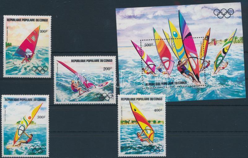 Olympics, surfers set + block, Olimpia, szörfözők sor + blokk