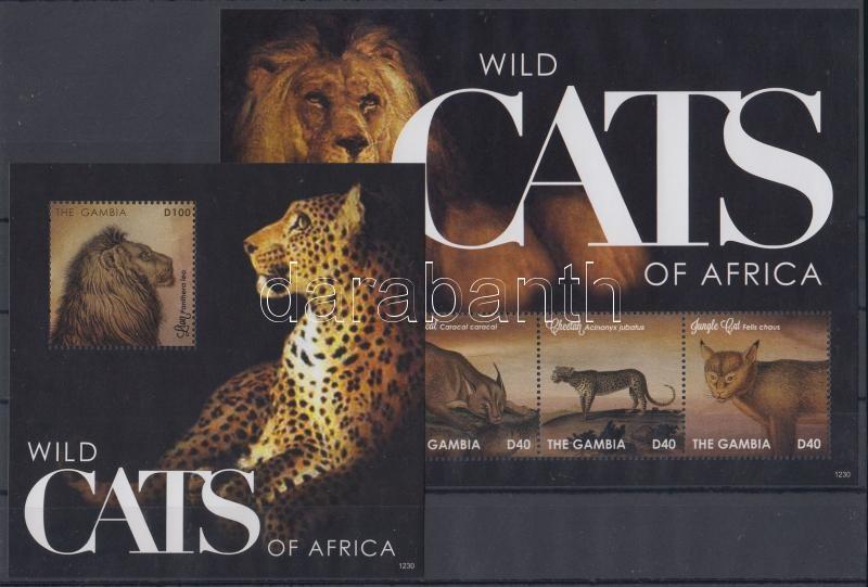 African wild cats minisheet + block, Afrikai vadmacskák kisív + blokk