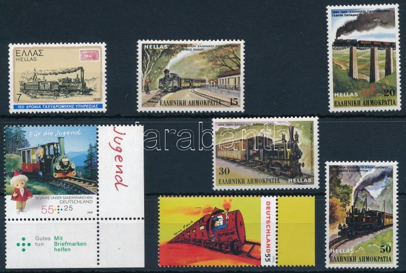 Train 7 stamps, Vonat motívum  7 db bélyeg