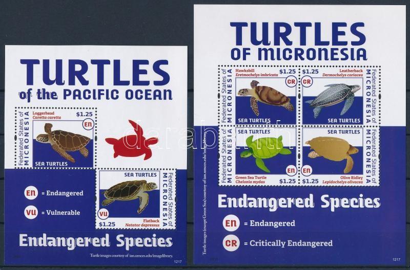 Turtles minisheet + block, Teknősök kisív  + blokk