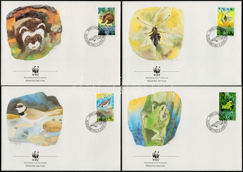 WWF Animal set + set on 4 FDCs, WWF Állatok sor + sor 4 FDC-n