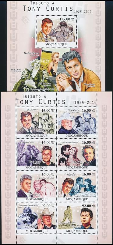 Tony Curtis minisheet + block, Tony Curtis kisív + blokk