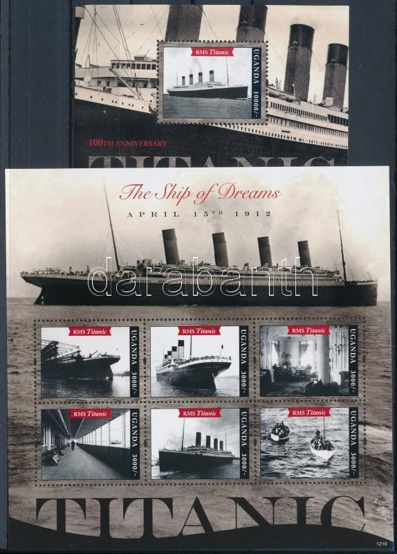 Titanic minisheet + block, Titanic kisív  + blokk