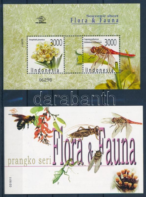 Flora + fauna stamp booklet + block, Virágok és rovarok bélyegfüzet  + blokk