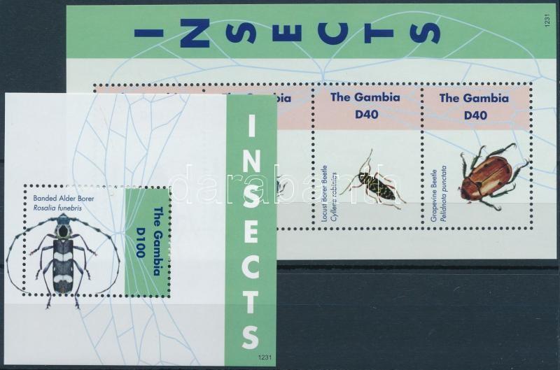 Insects minisheet + block, Rovarok kisív + blokk