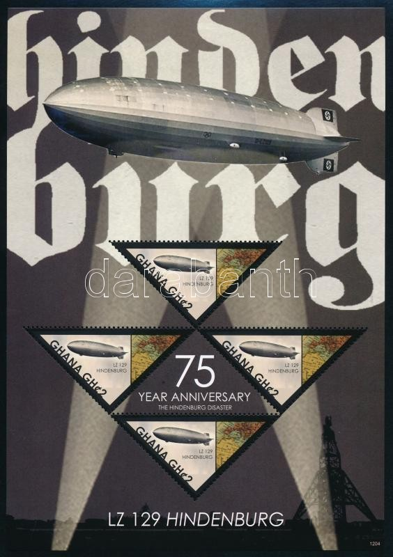 Hundenburg disaster minisheet + block, Hindenburg léghajó kisív  + blokk