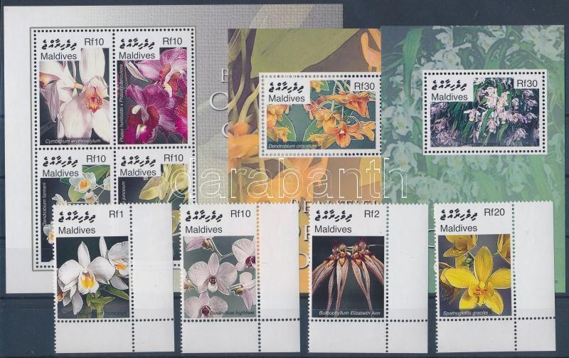 Orchids set + minisheet + 2 blocks, Orchideák sor és kisív  + 2 blokk