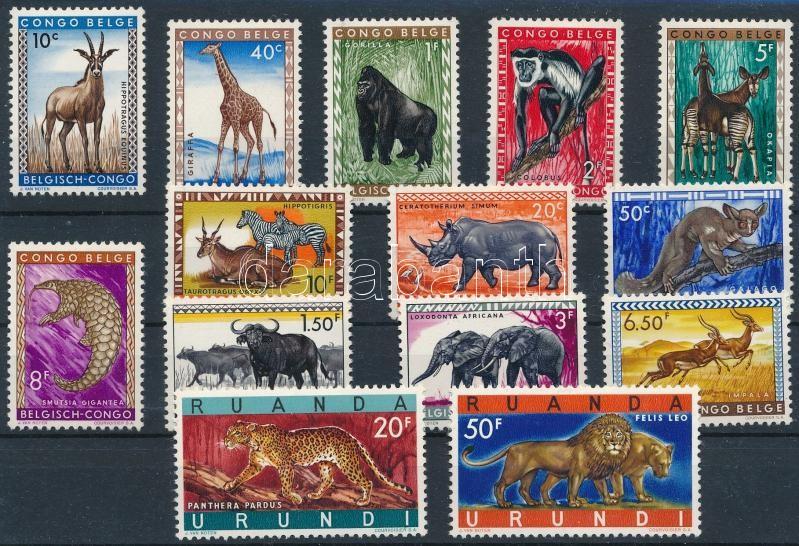 1959-1961 Animal motives 26 diff stamps, incl complete sets, 1959-1961 Állat motívum 26 db klf bélyeg, közte teljes sorok, 2 db stecklapon