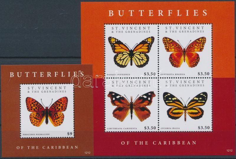 Butteflies minisheet + block, Lepkék kisív + blokk