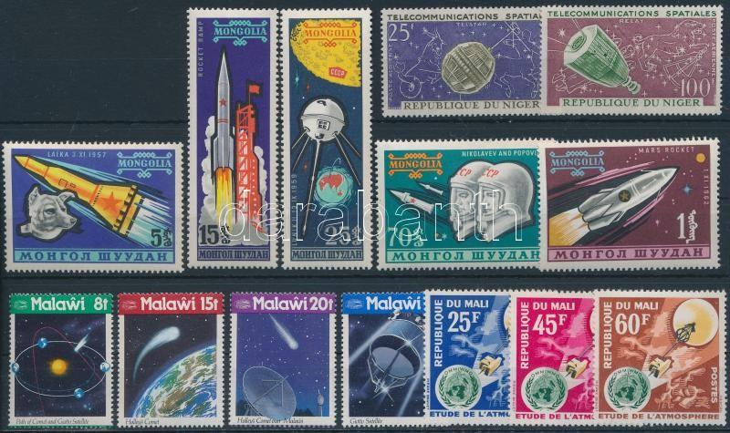 Space research 5 sets + 1 block + 5 stamps, Űrkutatás motívum 5 db sor + 1 blokk + 5 db önálló érték