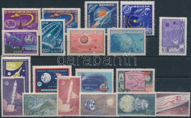 Space research 7 sets + 1 stamp, Űrkutatás motívum 7 db sor + 1 db önálló érték