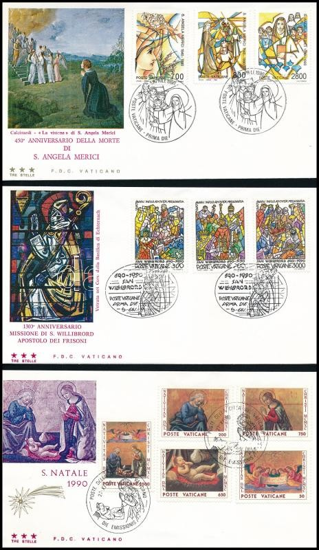 State of Vatican City 3 FDC, 3 klf FDC