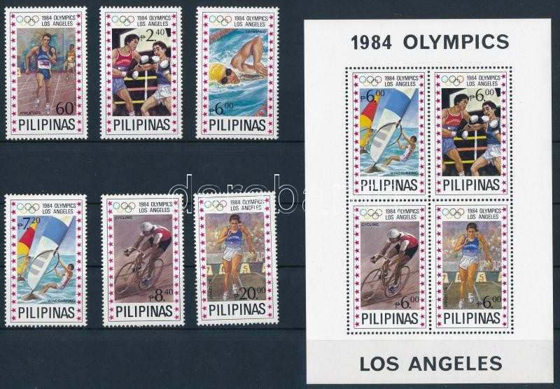 Summer olympic games set + block, Nyári olimpia: Los Angeles sor  + blokk