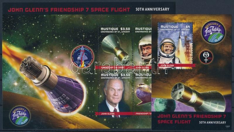 John Glenn, űrhajós kisív + blokk, John Glenn, astronaut minisheet + block