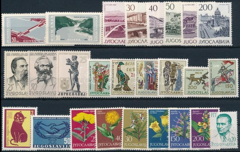 Yugoslavia   1964-1966 17 sets + 9 stamps, Jugoszlávia 1964-1966 17 klf sor + 9 klf önálló érték 3 db stecklapon