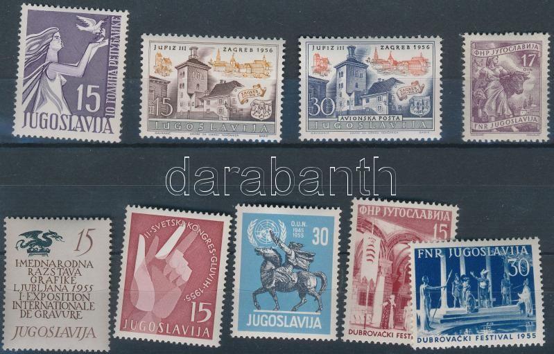 Yugoslavia 9 stamps, Jugoszlávia 9 klf bélyeg
