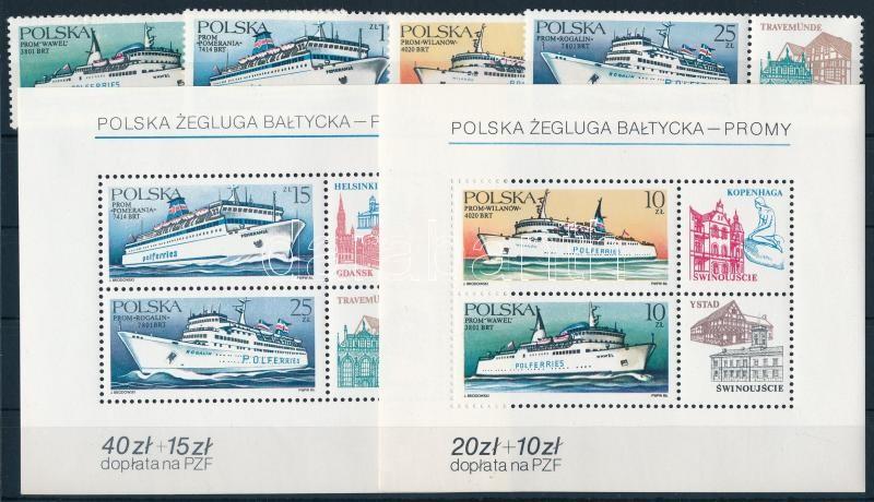 Ships set with coupon + block, Hajók szelvényes sor + blokk