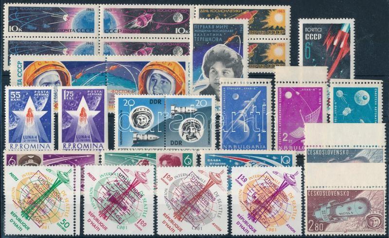 1962-1963 Space exploration motive 7 diff sets + 5 stamps, 1962-1963 Űrkutatás motívum 7 klf sor + 5 db önálló érték