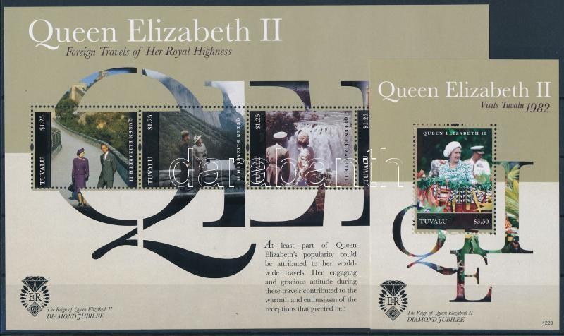 Travels of Queen Elizabeth II. mini sheet + block, II. Erzsébet királynő utazásai kisív + blokk