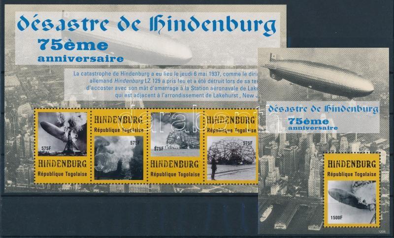 75th anniversary of the Hindenburg airship's disaster minisheet + block, A Hindenburg léghajó katasztrófájának 75. évfordulója kisív + blokk
