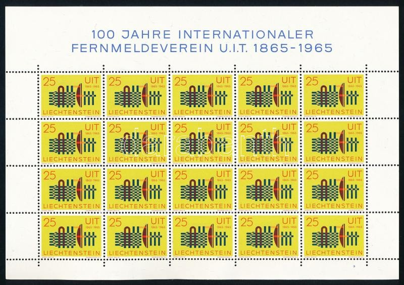 Centenary of ITU minisheet, 100 éves a Nemzetközi Távközlési Unió (ITU) kisív