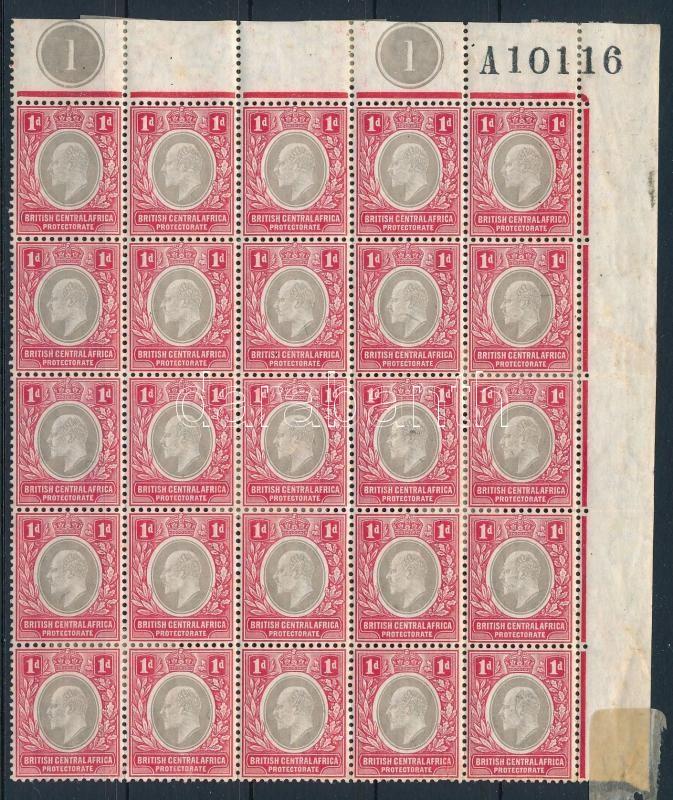 Malawi Middle Africa Definitive block of 25 (stain), Nyasszaföld Közép-Afrika Forgalmi 25-ös tömb (Mi EUR 323,-) (rozsda)